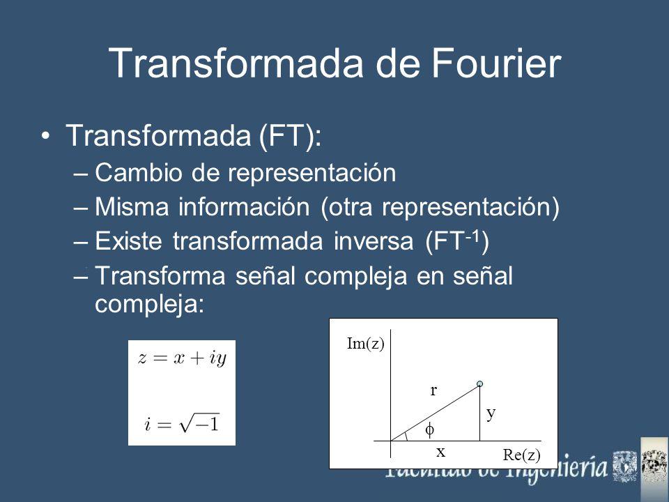 Transformada de Fourier Transformada (FT): –Cambio de representación –Misma información (otra representación) –Existe transformada inversa (FT -1 ) –T