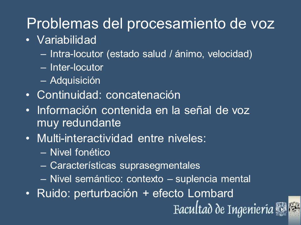 Problemas del procesamiento de voz Variabilidad –Intra-locutor (estado salud / ánimo, velocidad) –Inter-locutor –Adquisición Continuidad: concatenació