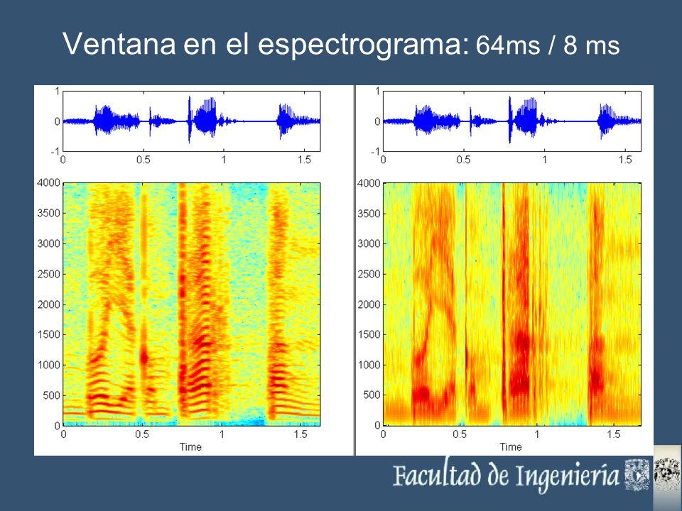 Ventana en el espectrograma: 64ms / 8 ms