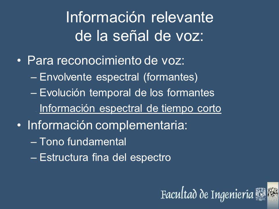Información relevante de la señal de voz: Para reconocimiento de voz: –Envolvente espectral (formantes) –Evolución temporal de los formantes Informaci