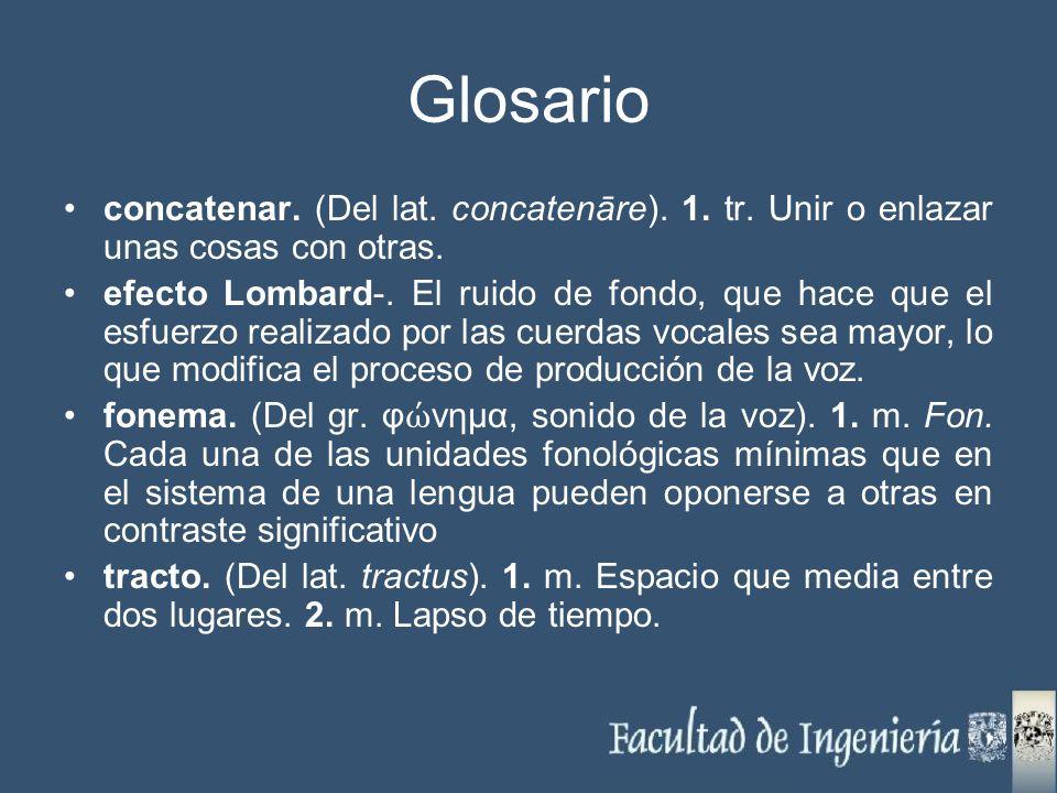 Glosario concatenar. (Del lat. concatenāre). 1. tr. Unir o enlazar unas cosas con otras. efecto Lombard-. El ruido de fondo, que hace que el esfuerzo