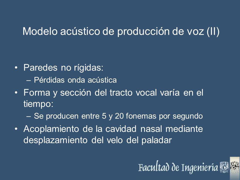Paredes no rígidas: –Pérdidas onda acústica Forma y sección del tracto vocal varía en el tiempo: –Se producen entre 5 y 20 fonemas por segundo Acoplam