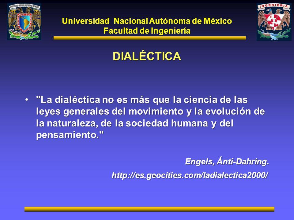 Universidad Nacional Autónoma de México Facultad de Ingeniería DIALÉCTICA