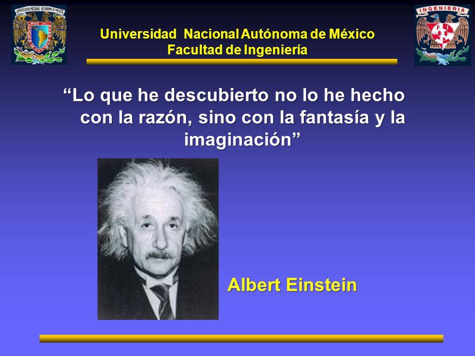 Universidad Nacional Autónoma de México Facultad de Ingeniería Lo que he descubierto no lo he hecho con la razón, sino con la fantasía y la imaginació