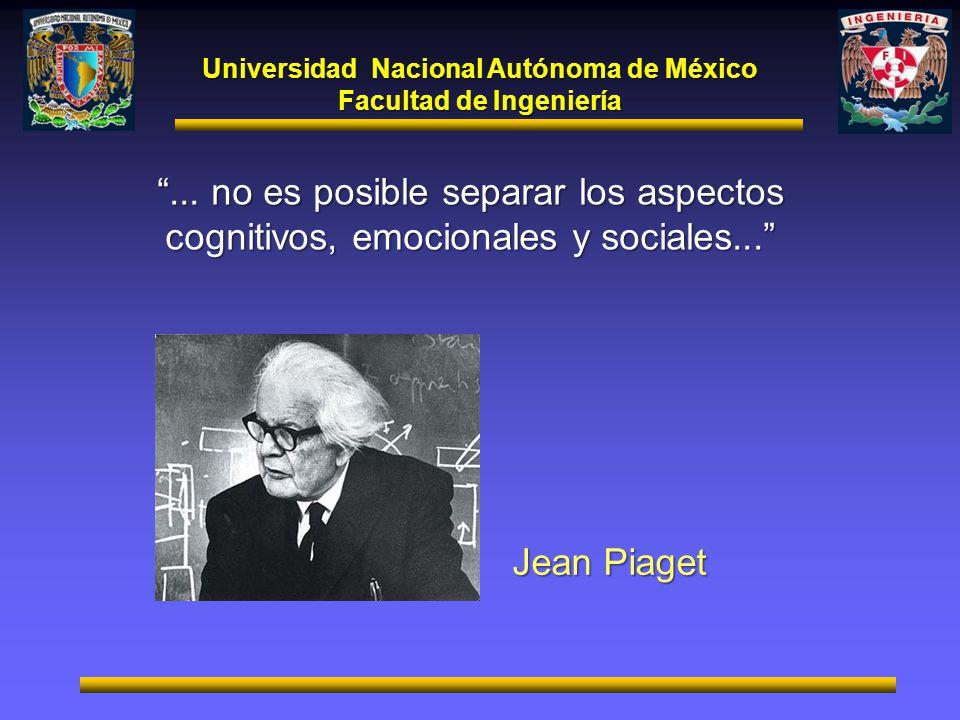 Universidad Nacional Autónoma de México Facultad de Ingeniería... no es posible separar los aspectos cognitivos, emocionales y sociales... Jean Piaget