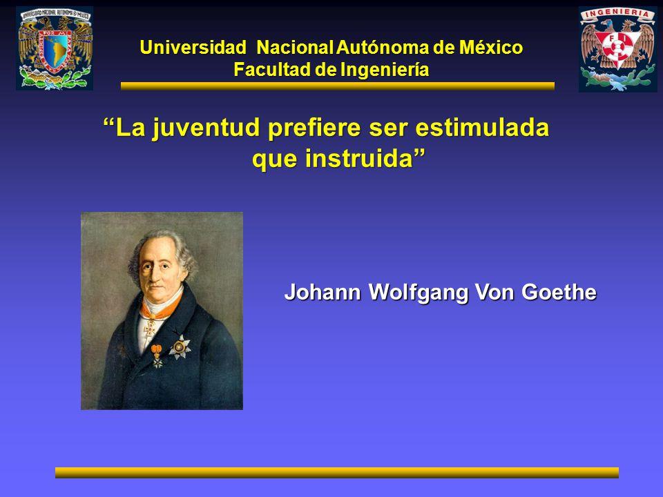 Universidad Nacional Autónoma de México Facultad de Ingeniería La juventud prefiere ser estimulada que instruida Johann Wolfgang Von Goethe