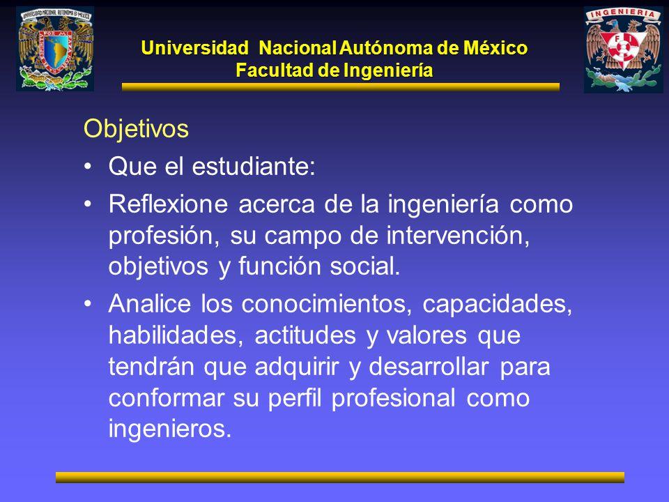 Universidad Nacional Autónoma de México Facultad de Ingeniería Objetivos Que el estudiante: Reflexione acerca de la ingeniería como profesión, su camp