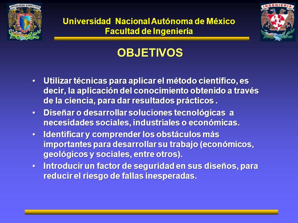 Universidad Nacional Autónoma de México Facultad de Ingeniería OBJETIVOS Utilizar técnicas para aplicar el método científico, es decir, la aplicación