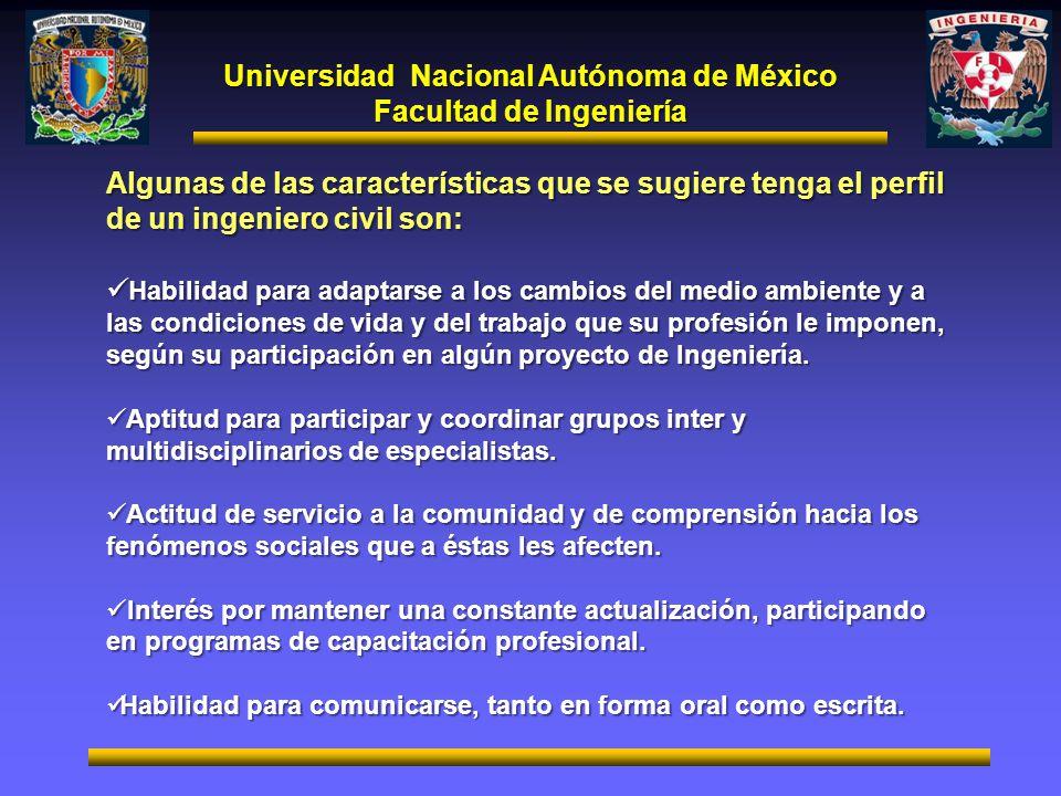 Universidad Nacional Autónoma de México Facultad de Ingeniería Algunas de las características que se sugiere tenga el perfil de un ingeniero civil son