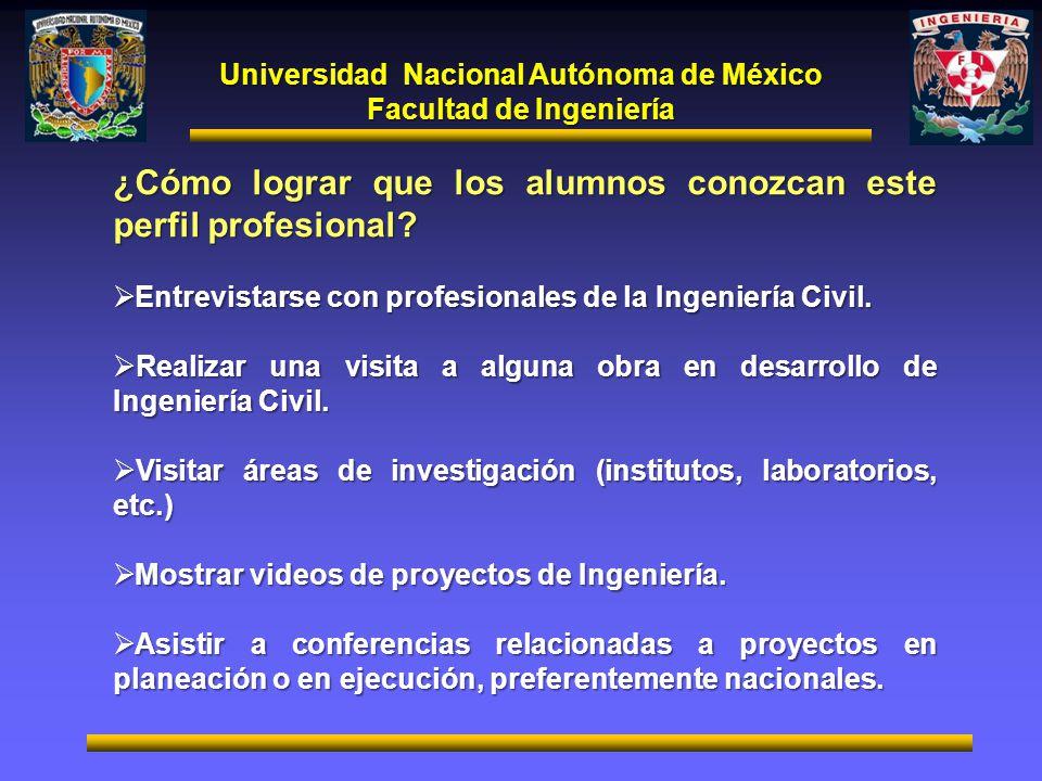 Universidad Nacional Autónoma de México Facultad de Ingeniería ¿Cómo lograr que los alumnos conozcan este perfil profesional? Entrevistarse con profes