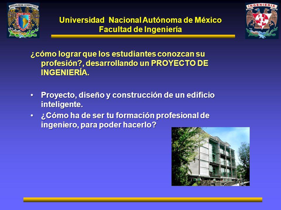 Universidad Nacional Autónoma de México Facultad de Ingeniería ¿cómo lograr que los estudiantes conozcan su profesión?, desarrollando un PROYECTO DE I