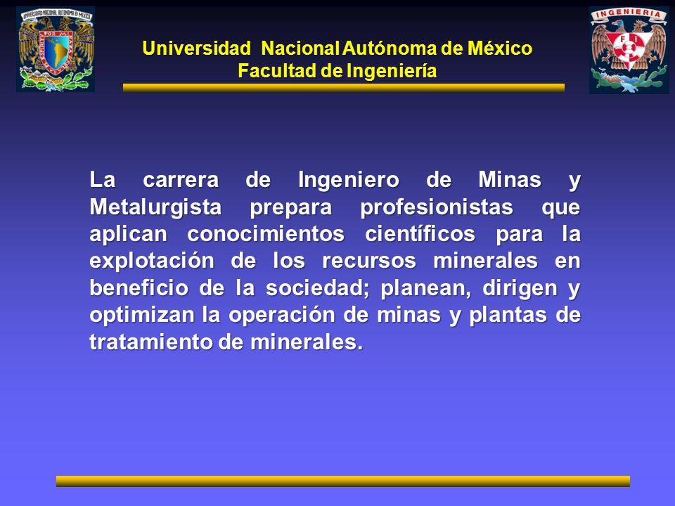 Universidad Nacional Autónoma de México Facultad de Ingeniería La carrera de Ingeniero de Minas y Metalurgista prepara profesionistas que aplican cono