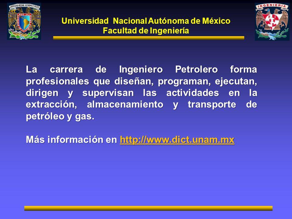 Universidad Nacional Autónoma de México Facultad de Ingeniería La carrera de Ingeniero Petrolero forma profesionales que diseñan, programan, ejecutan,