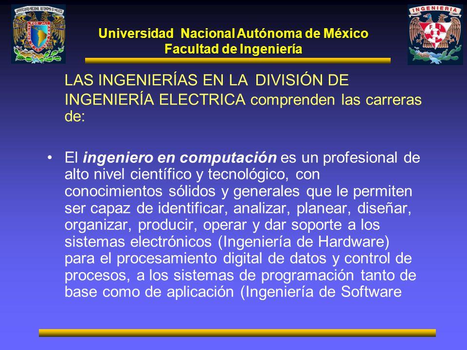 Universidad Nacional Autónoma de México Facultad de Ingeniería LAS INGENIERÍAS EN LA DIVISIÓN DE INGENIERÍA ELECTRICA comprenden las carreras de: El i