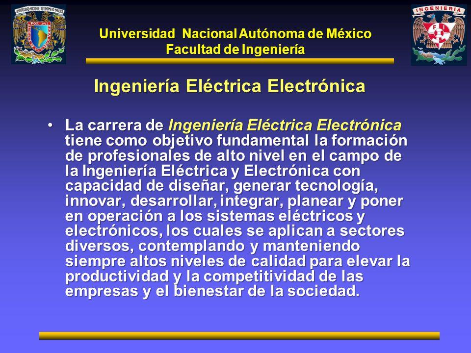 Universidad Nacional Autónoma de México Facultad de Ingeniería Ingeniería Eléctrica Electrónica La carrera de Ingeniería Eléctrica Electrónica tiene c
