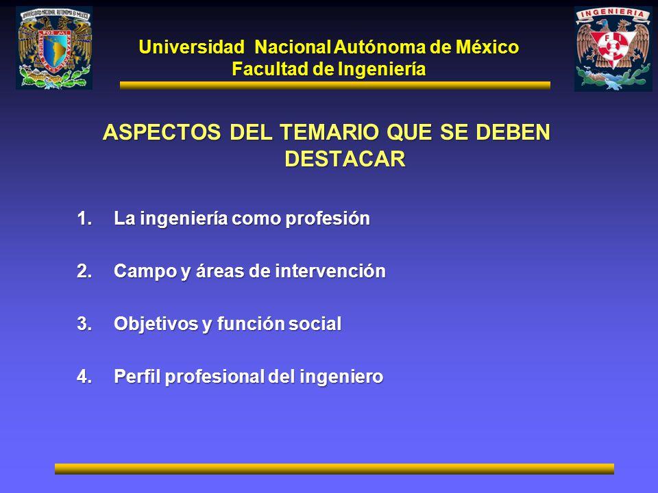 Universidad Nacional Autónoma de México Facultad de Ingeniería ASPECTOS DEL TEMARIO QUE SE DEBEN DESTACAR 1.La ingeniería como profesión 2.Campo y áre