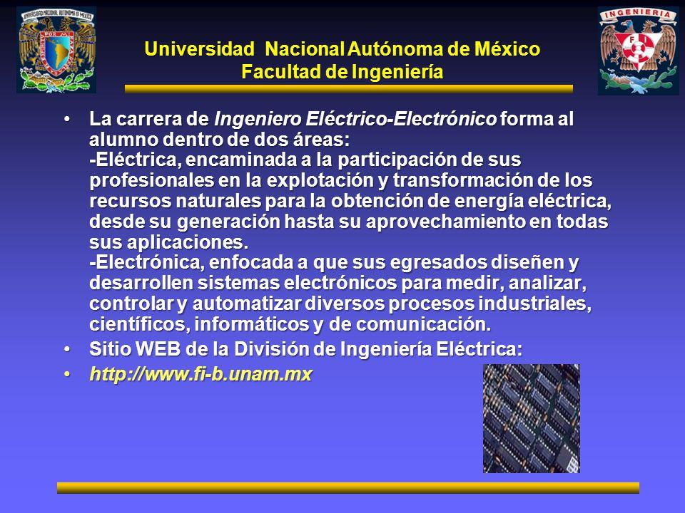 Universidad Nacional Autónoma de México Facultad de Ingeniería La carrera de Ingeniero Eléctrico-Electrónico forma al alumno dentro de dos áreas: -Elé