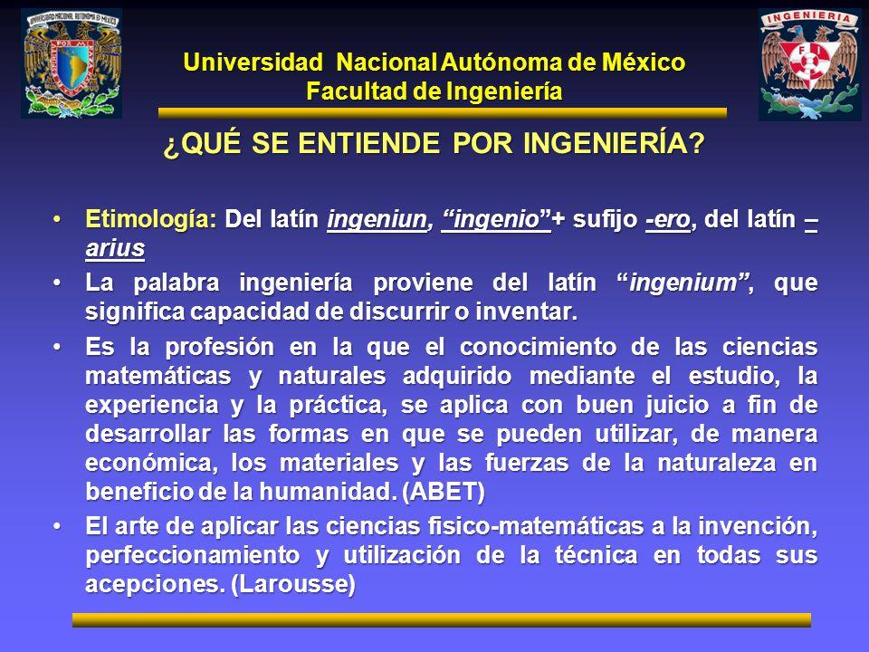 Universidad Nacional Autónoma de México Facultad de Ingeniería ¿QUÉ SE ENTIENDE POR INGENIERÍA? Etimología: Del latín ingeniun, ingenio+ sufijo -ero,