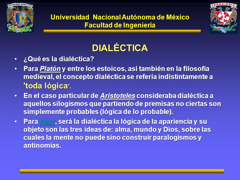 Universidad Nacional Autónoma de México Facultad de Ingeniería DIALÉCTICA ¿Qué es la dialéctica?¿Qué es la dialéctica? Para Platón y entre los estoico