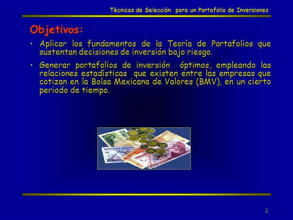 3 Técnicas de Selección para un Portafolio de Inversiones Sistema Financiero Mexicano Sistema Bancario Sistema No Bancario Administradoras de fondos de ahorro para el retiro (Afores).