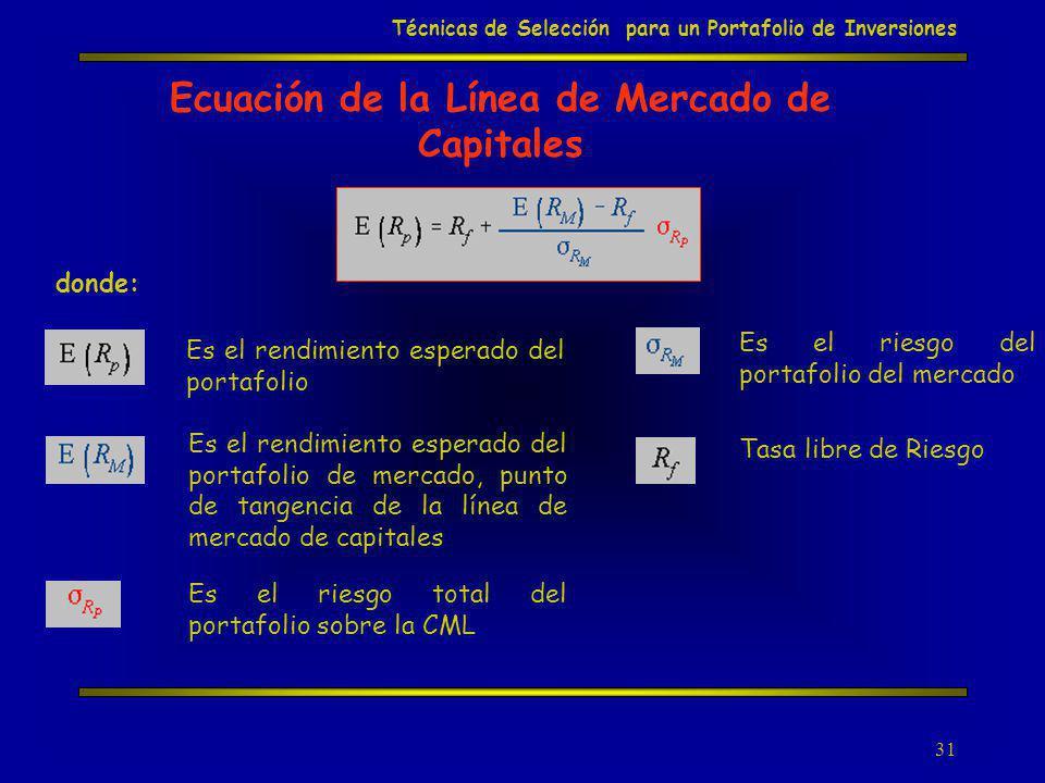 31 Ecuación de la Línea de Mercado de Capitales donde: Es el rendimiento esperado del portafolio Es el rendimiento esperado del portafolio de mercado,