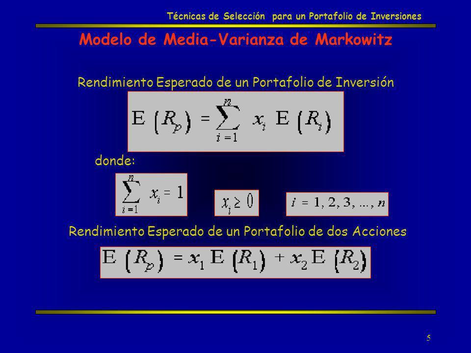 5 Modelo de Media-Varianza de Markowitz Rendimiento Esperado de un Portafolio de dos Acciones Rendimiento Esperado de un Portafolio de Inversión donde