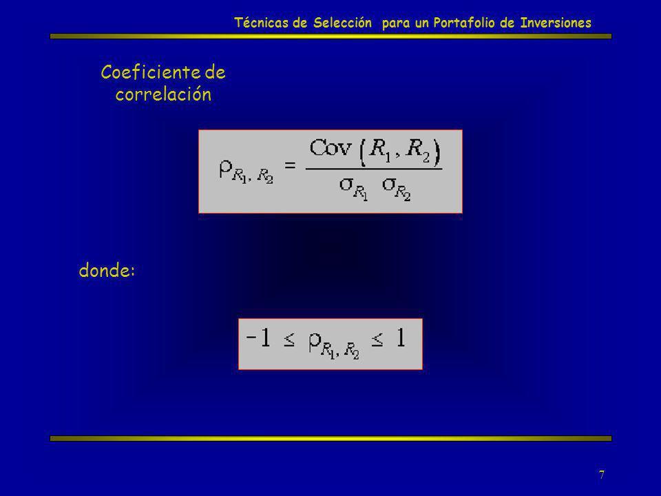8 Coeficiente de Correlación Correlación positiva perfecta Técnicas de Selección para un Portafolio de Inversiones Rendimientos Tiempo A B