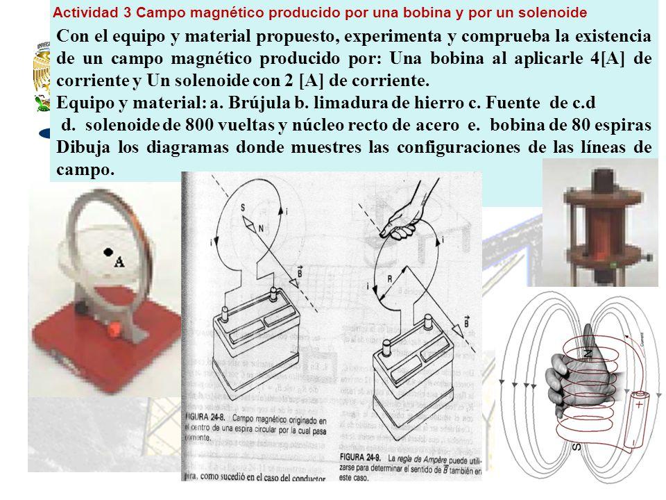Con el equipo y material propuesto, experimenta y comprueba la existencia de un campo magnético producido por: Una bobina al aplicarle 4[A] de corrien