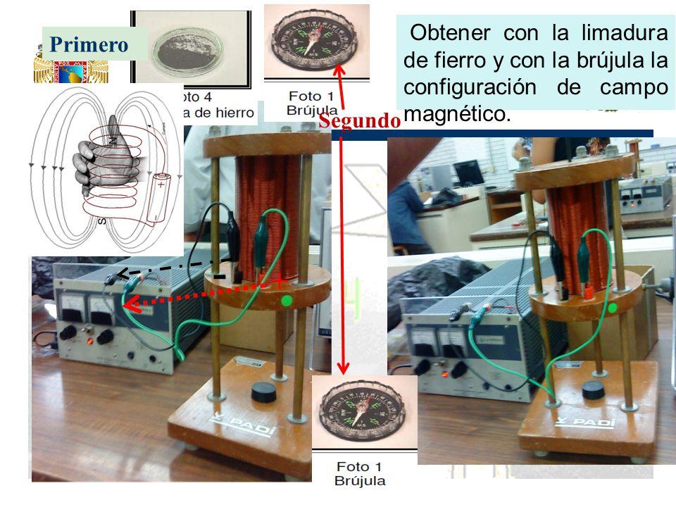 Primero Segundo + - Obtener con la limadura de fierro y con la brújula la configuración de campo magnético.