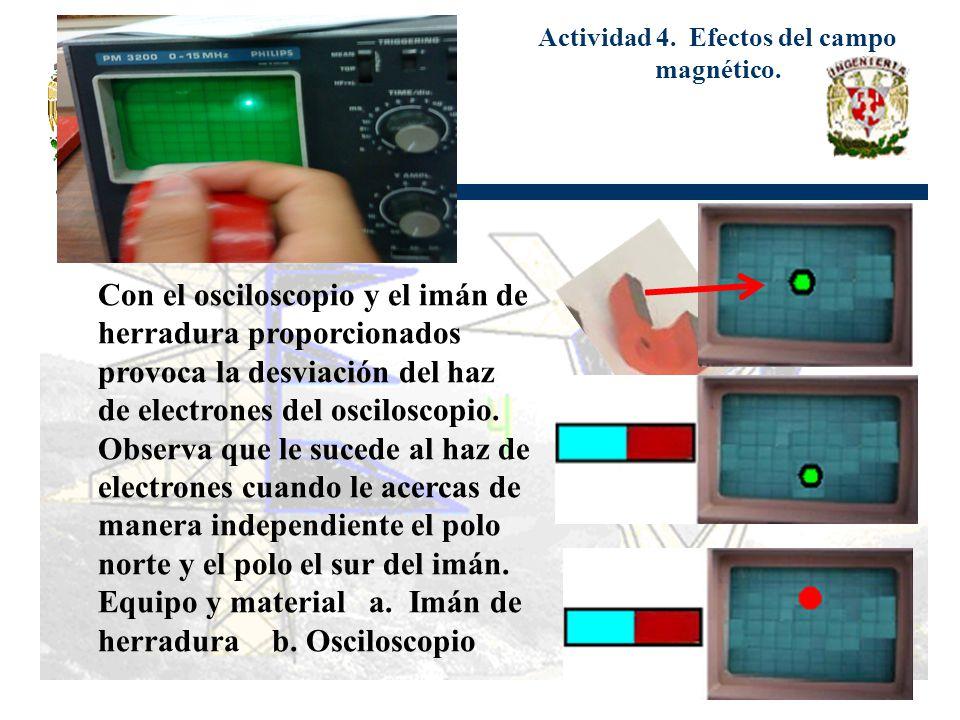 Actividad 4. Efectos del campo magnético. Con el osciloscopio y el imán de herradura proporcionados provoca la desviación del haz de electrones del os