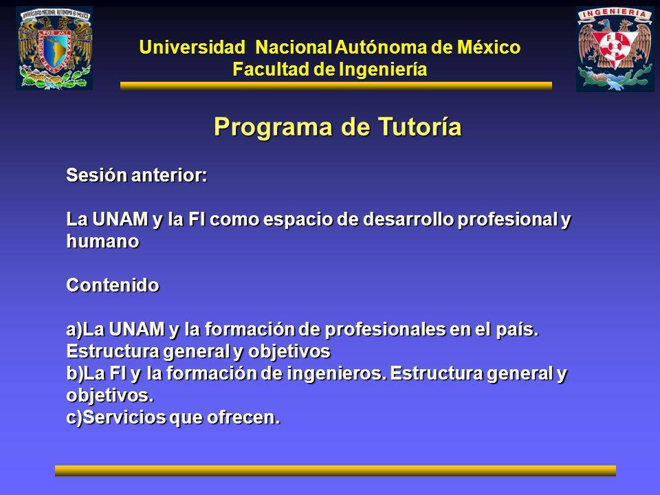 Universidad Nacional Autónoma de México Facultad de Ingeniería Programa de Tutoría Sesión anterior: La UNAM y la FI como espacio de desarrollo profesional y humano Contenido a)La UNAM y la formación de profesionales en el país.