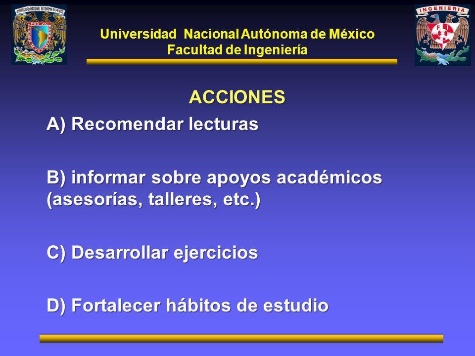 Universidad Nacional Autónoma de México Facultad de Ingeniería ACCIONES A) Recomendar lecturas B) informar sobre apoyos académicos (asesorías, talleres, etc.) C) Desarrollar ejercicios D) Fortalecer hábitos de estudio