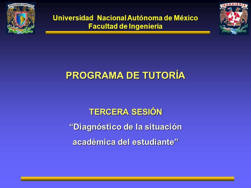 Universidad Nacional Autónoma de México Facultad de Ingeniería PROGRAMA DE TUTORÍA TERCERA SESIÓN Diagnóstico de la situación académica del estudiante