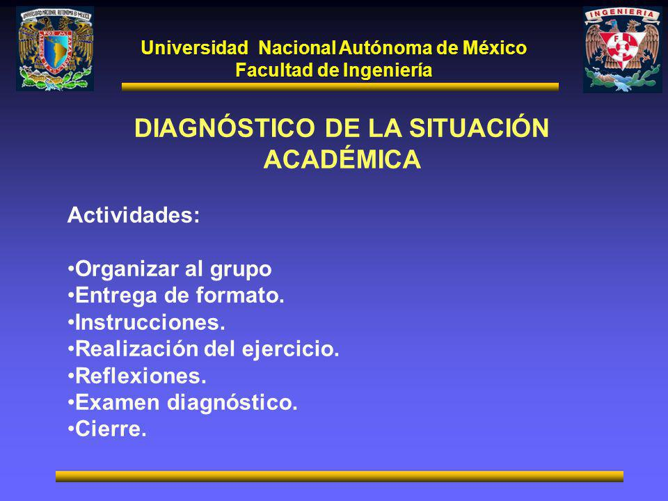 Universidad Nacional Autónoma de México Facultad de Ingeniería DIAGNÓSTICO DE LA SITUACIÓN ACADÉMICA Actividades: Organizar al grupo Entrega de formato.