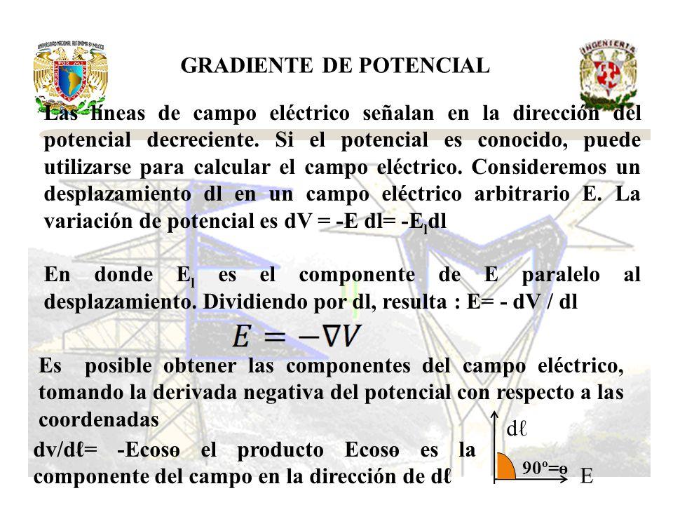 Las líneas de campo eléctrico señalan en la dirección del potencial decreciente. Si el potencial es conocido, puede utilizarse para calcular el campo