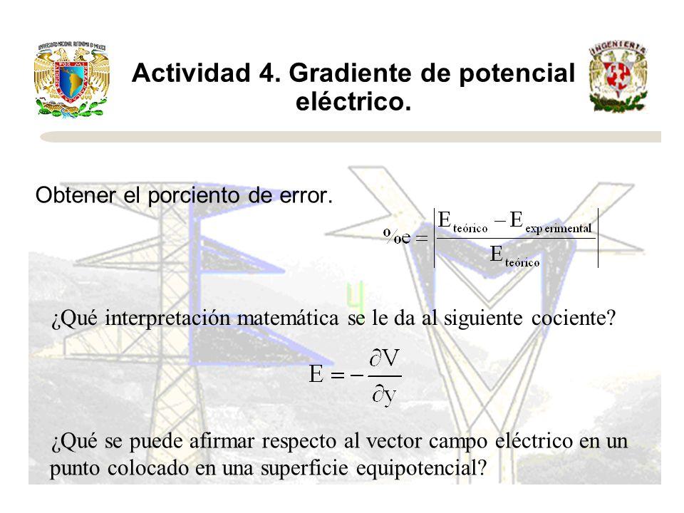 Actividad 4. Gradiente de potencial eléctrico. Obtener el porciento de error. ¿Qué interpretación matemática se le da al siguiente cociente? ¿Qué se p