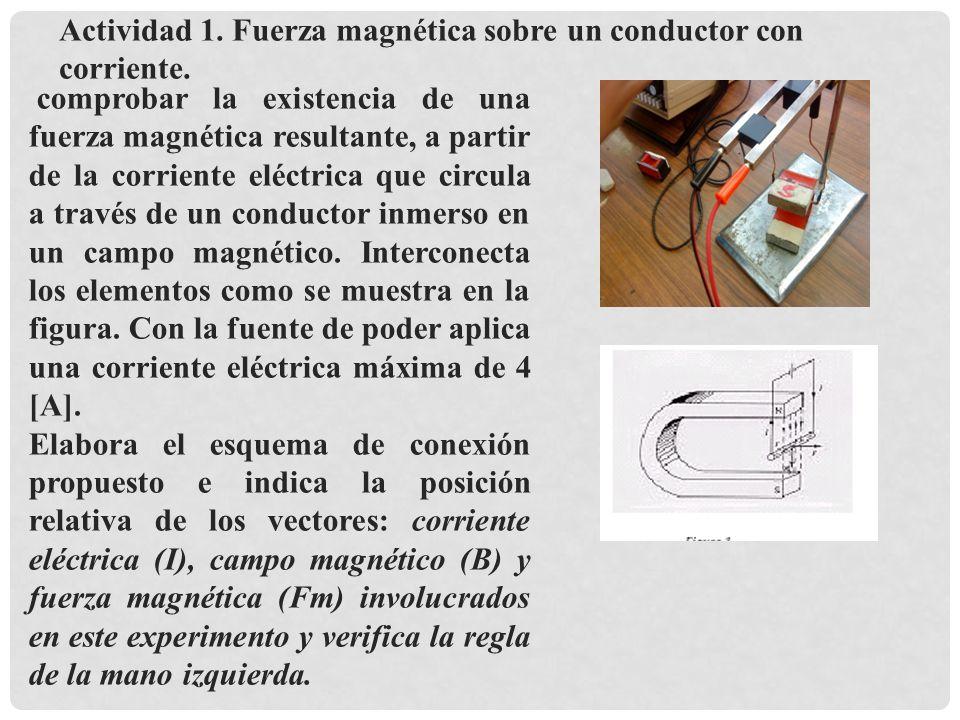 comprobar la existencia de una fuerza magnética resultante, a partir de la corriente eléctrica que circula a través de un conductor inmerso en un campo magnético.