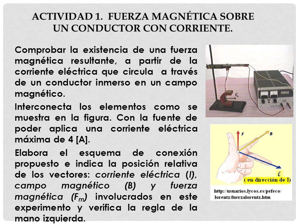 ACTIVIDAD 1. FUERZA MAGNÉTICA SOBRE UN CONDUCTOR CON CORRIENTE. Comprobar la existencia de una fuerza magnética resultante, a partir de la corriente e