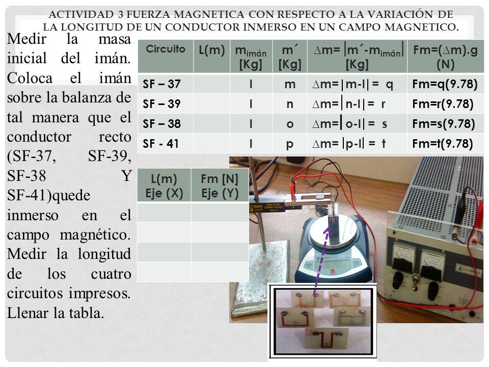 ACTIVIDAD 3 FUERZA MAGNETICA CON RESPECTO A LA VARIACIÓN DE LA LONGITUD DE UN CONDUCTOR INMERSO EN UN CAMPO MAGNETICO. Medir la masa inicial del imán.