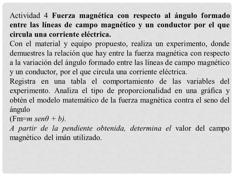 Actividad 4 Fuerza magnética con respecto al ángulo formado entre las líneas de campo magnético y un conductor por el que circula una corriente eléctr