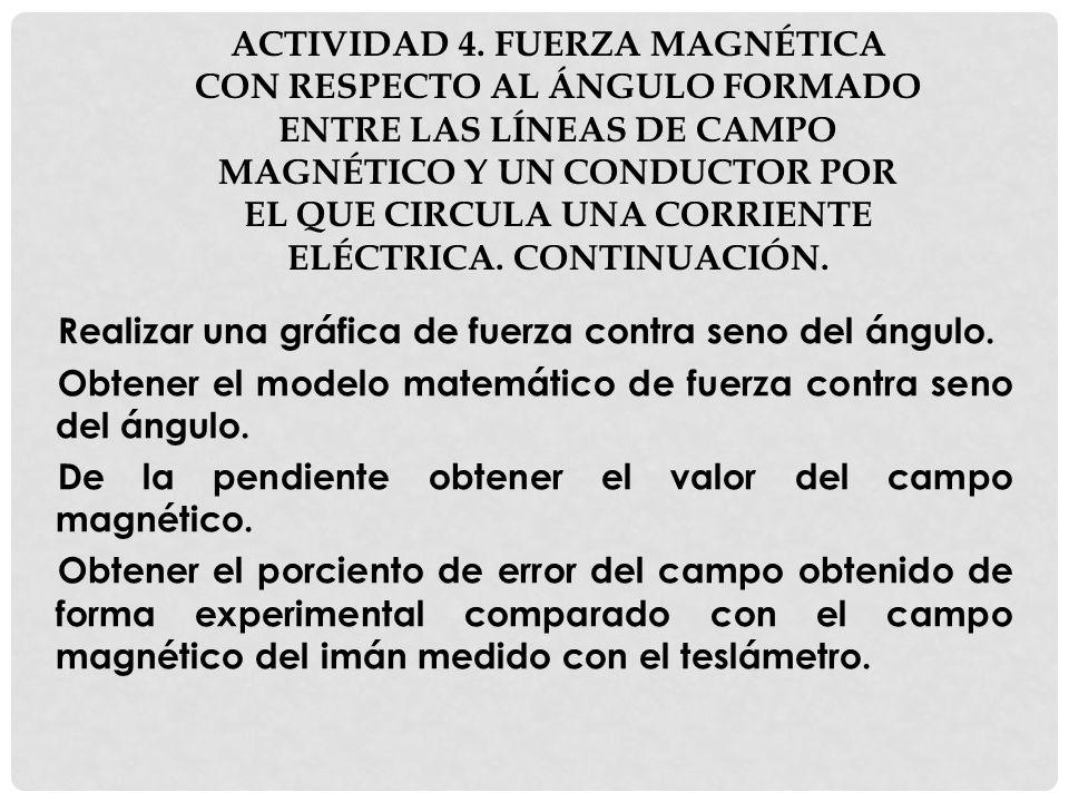 ACTIVIDAD 4. FUERZA MAGNÉTICA CON RESPECTO AL ÁNGULO FORMADO ENTRE LAS LÍNEAS DE CAMPO MAGNÉTICO Y UN CONDUCTOR POR EL QUE CIRCULA UNA CORRIENTE ELÉCT