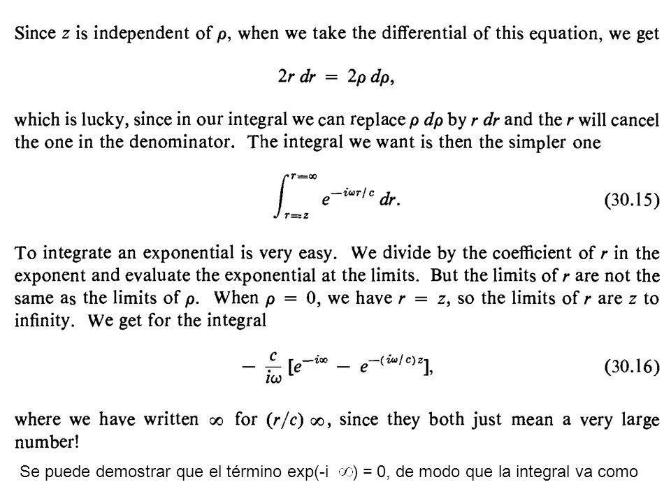 Se puede demostrar que el término exp(-i ) = 0, de modo que la integral va como
