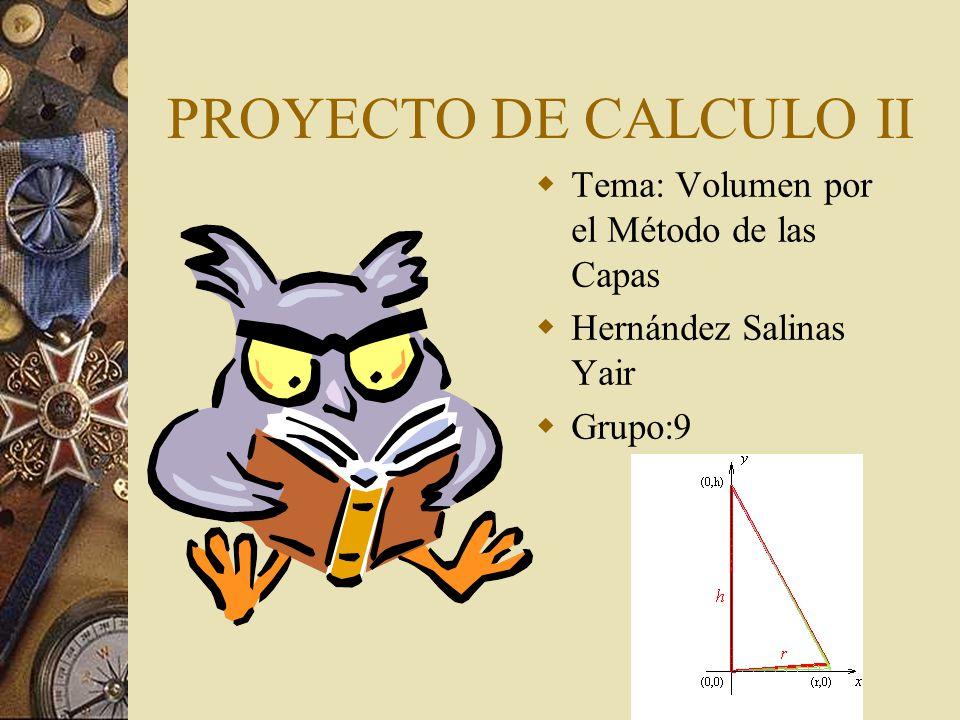 PROYECTO DE CALCULO II Tema: Volumen por el Método de las Capas Hernández Salinas Yair Grupo:9
