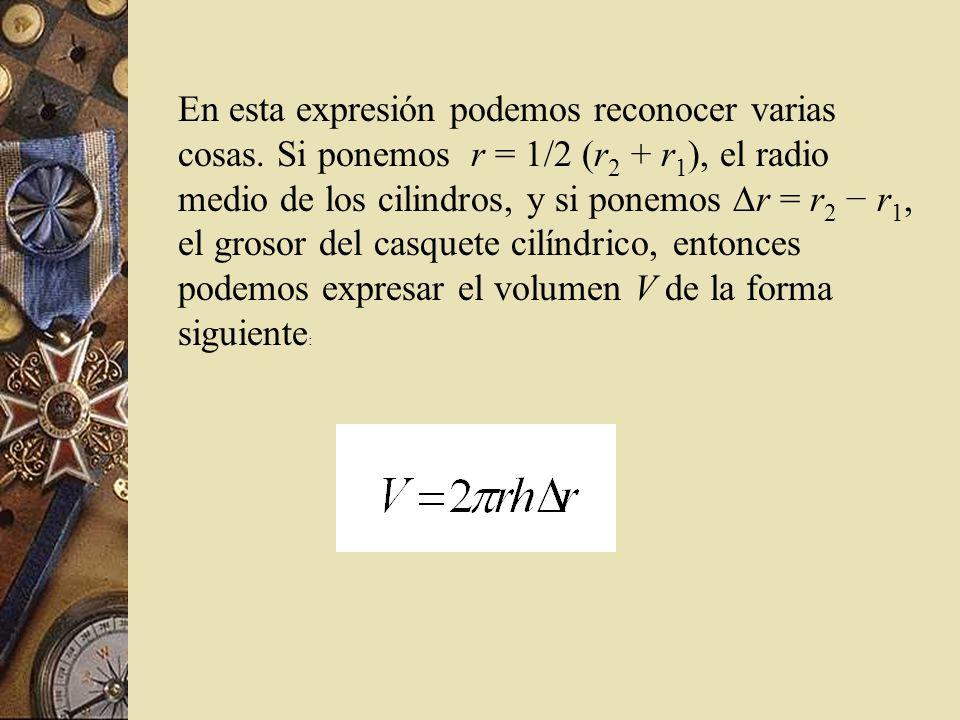 En esta expresión podemos reconocer varias cosas. Si ponemos r = 1/2 (r 2 + r 1 ), el radio medio de los cilindros, y si ponemos r = r 2 r 1, el groso