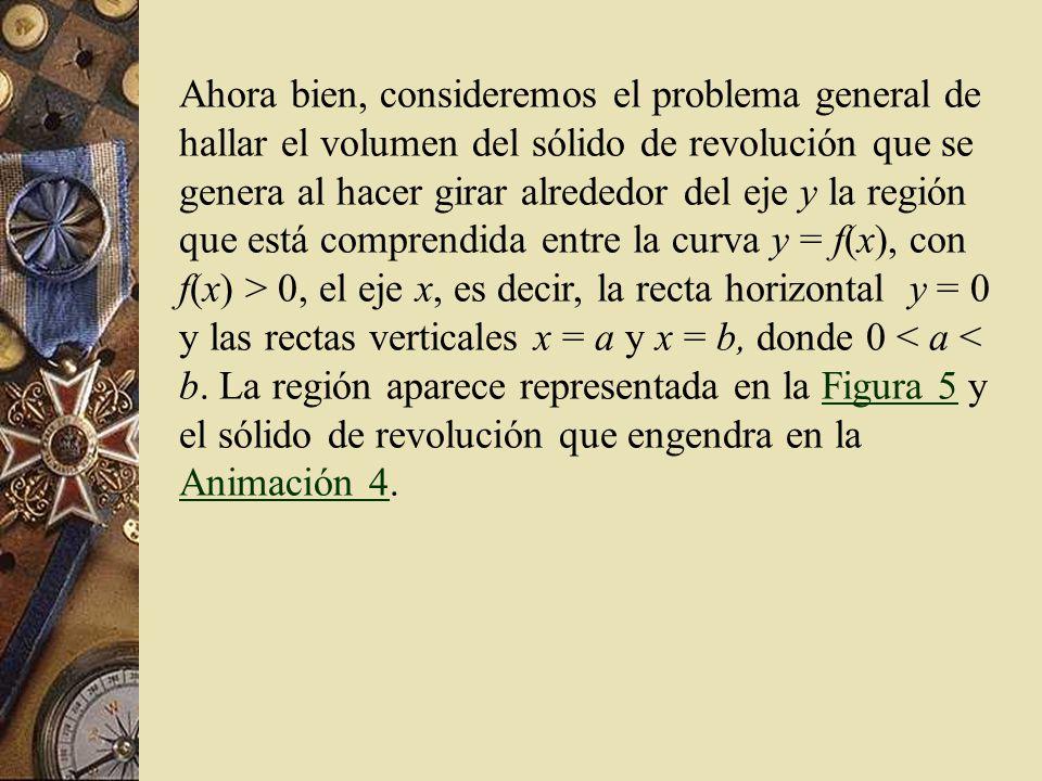 Ahora bien, consideremos el problema general de hallar el volumen del sólido de revolución que se genera al hacer girar alrededor del eje y la región