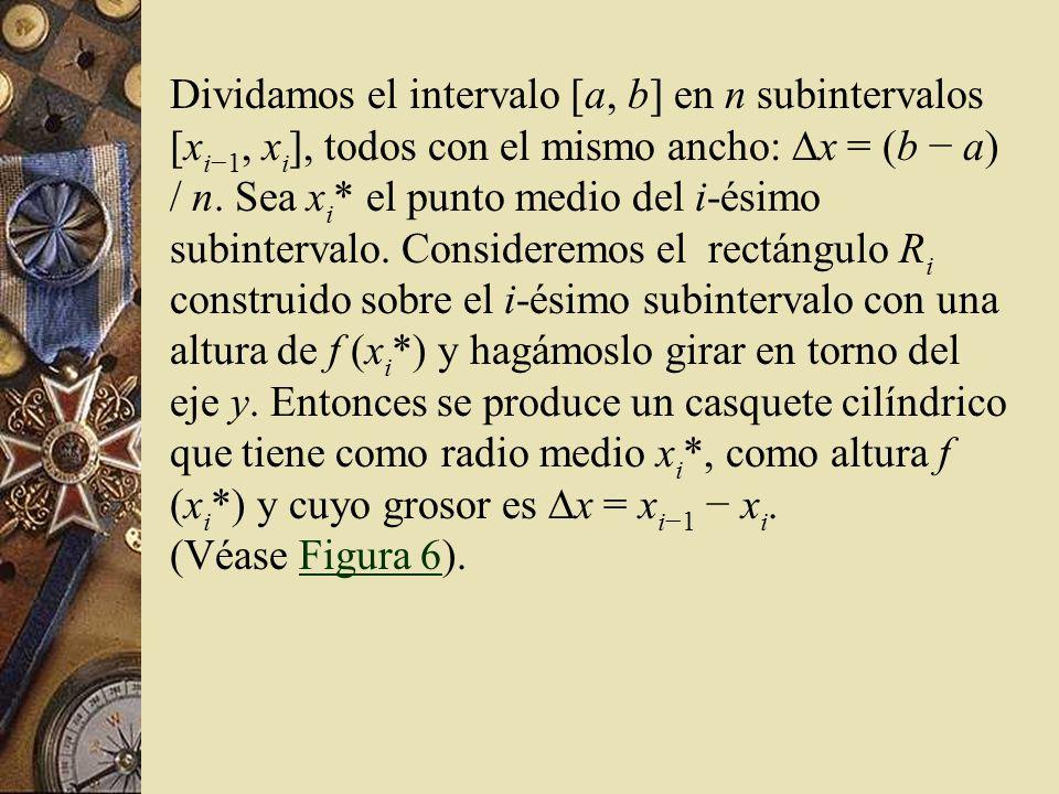 Dividamos el intervalo [a, b] en n subintervalos [x i1, x i ], todos con el mismo ancho: x = (b a) / n. Sea x i * el punto medio del i-ésimo subinterv