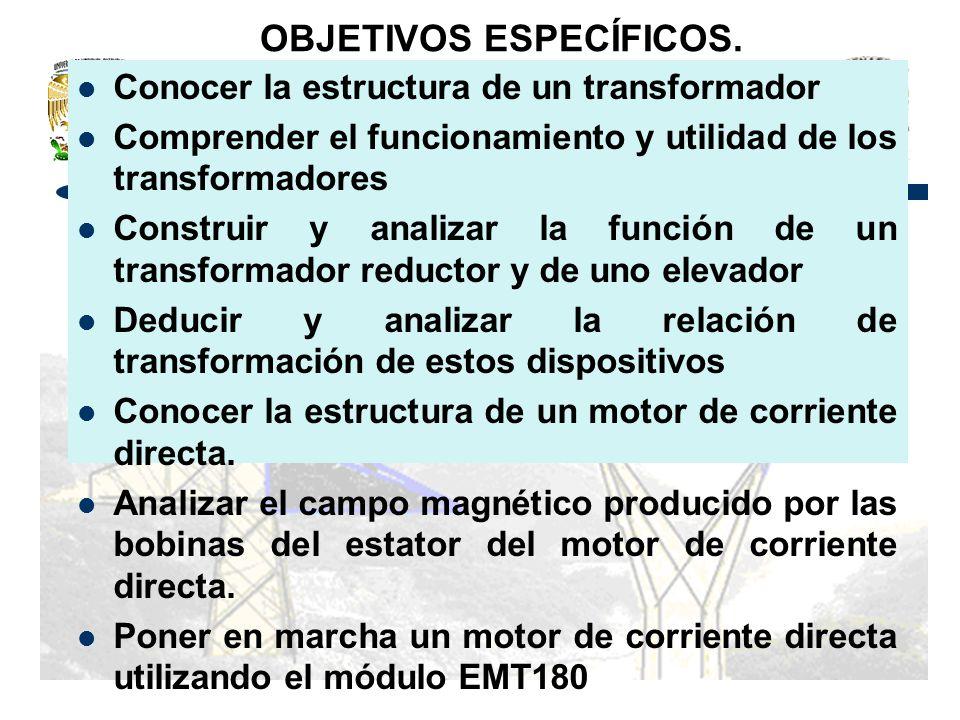 OBJETIVOS ESPECÍFICOS. Conocer la estructura de un transformador Comprender el funcionamiento y utilidad de los transformadores Construir y analizar l
