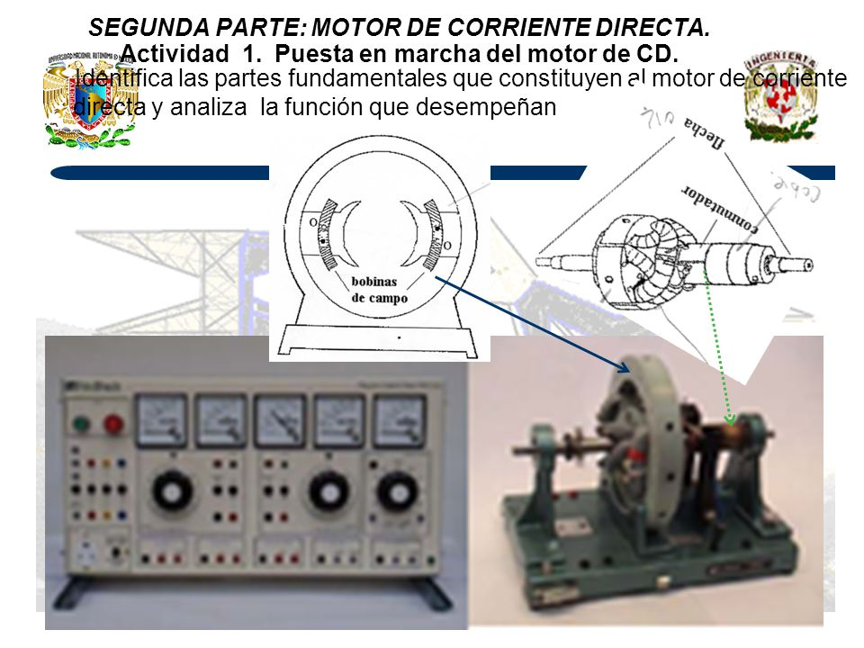 SEGUNDA PARTE: MOTOR DE CORRIENTE DIRECTA. Actividad 1. Puesta en marcha del motor de CD. Identifica las partes fundamentales que constituyen al motor