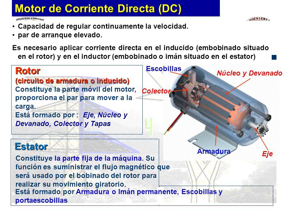 Capacidad de regular continuamente la velocidad. par de arranque elevado. Es necesario aplicar corriente directa en el inducido (embobinado situado en
