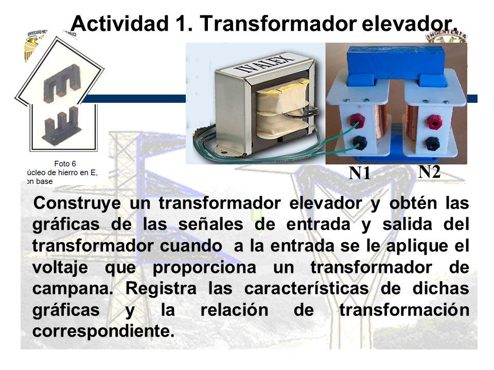 Actividad 1. Transformador elevador. Construye un transformador elevador y obtén las gráficas de las señales de entrada y salida del transformador cua